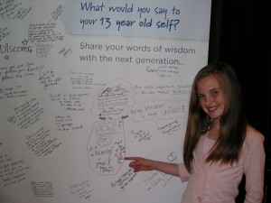 Madison with her inspirational words and beautiful artwork at the Dove banner