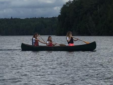 Ava, Elle and Maddie canoeing Tanamakoon